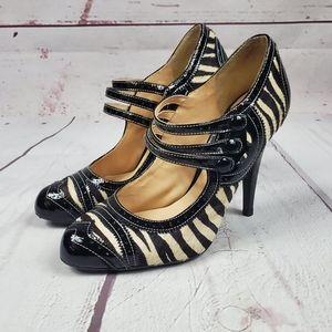 Pour La Victoire black white zebra print stiletto